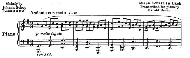 バッハ「カンタータ「心と口と行いと生活で」第10曲「主よ、人の望みの喜びよ」ト長調BWV147-10/ピアノ編曲:ハロルド・バウアー(マイラ・ヘス)」楽譜2
