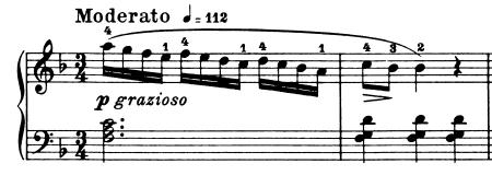 ブルグミュラー「25の練習曲第5番「無邪気」ヘ長調Op.100-5」ピアノ楽譜1