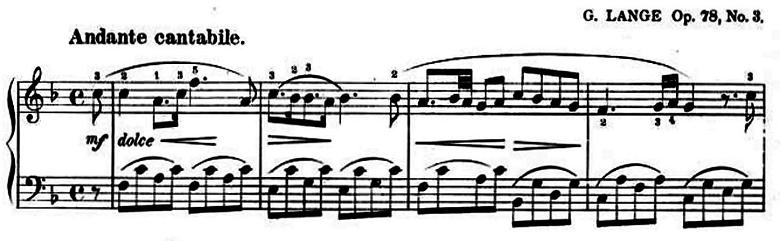 ランゲ「子どもの世界からの声:12のやさしい演奏曲第3曲「野ばら」ヘ長調Op.78-3」ピアノ楽譜1