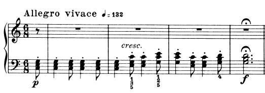 ブルグミュラー「25の練習曲第9番「狩猟」ハ長調Op.100-9」ピアノ楽譜1