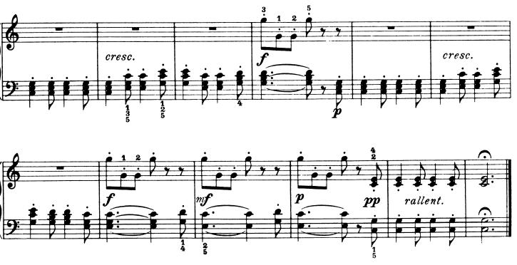 ブルグミュラー「25の練習曲第9番「狩猟」ハ長調Op.100-9」ピアノ楽譜4