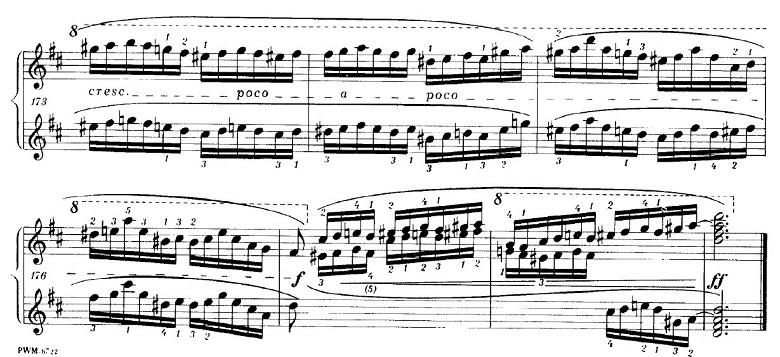 ショパンの連弾曲「ムーアの民族的な歌による変奏曲」ニ長調Op.P1-6プリモの一番最後の部分のピアノ楽譜