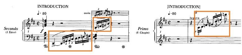 ショパンの連弾曲「ムーアの民族的な歌による変奏曲」ニ長調Op.P1-6出だしの部分のピアノ楽譜