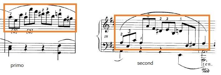 ショパンの連弾曲「ムーアの民族的な歌による変奏曲」ニ長調Op.P1-6受け渡し部分のピアノ楽譜
