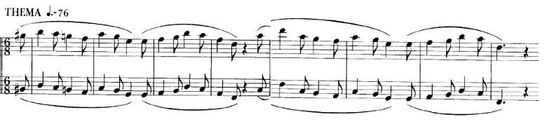 ショパンの連弾曲「ムーアの民族的な歌による変奏曲」ニ長調Op.P1-6ムーアの主題部分のピアノ楽譜