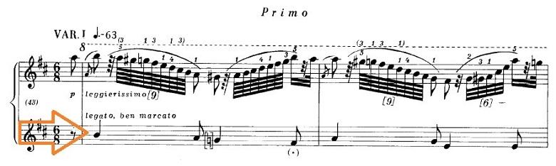 ショパンの連弾曲「ムーアの民族的な歌による変奏曲」ニ長調Op.P1-6第1変奏のピアノ楽譜