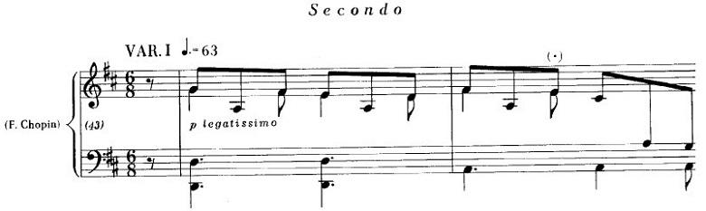 ショパンの連弾曲「ムーアの民族的な歌による変奏曲」ニ長調Op.P1-6第1変奏の弾きにくい部分のピアノ楽譜