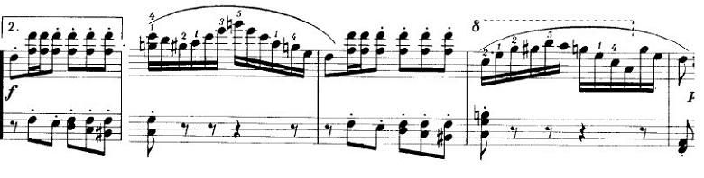 ショパンの連弾曲「ムーアの民族的な歌による変奏曲」ニ長調Op.P1-6第5変奏部分のピアノ楽譜