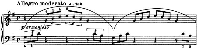 ブルグミュラー「25の練習曲第21番「天使の合唱」ト長調Op.100-21」ピアノ楽譜1