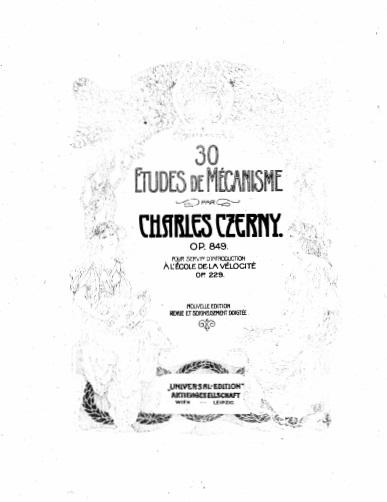 ツェルニー(チェルニー)「30番練習曲第1番ハ長調Op.849-1」ピアノ楽譜1
