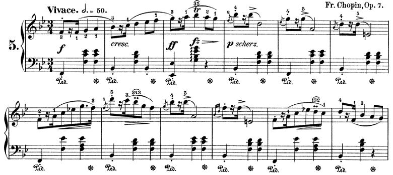 ショパン「マズルカ第5番変ロ長調Op.7-1」ピアノ楽譜1