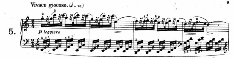 ツェルニー(チェルニー)「30番練習曲第5番ハ長調Op.849-5」ピアノ楽譜