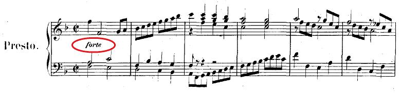 バッハ「クラヴィーア練習曲集第2巻「イタリア協奏曲」ヘ長調BWV971第3楽章」ピアノ楽譜1