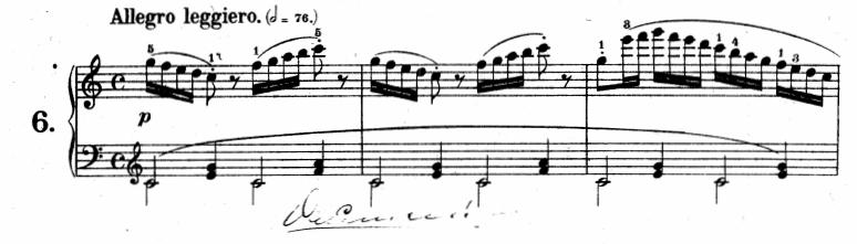 ツェルニー(チェルニー)「30番練習曲第6番ハ長調Op.849-6」ピアノ楽譜1