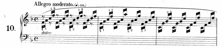 ツェルニー(チェルニー)「30番練習曲第10番ヘ長調Op.849-10」ピアノ楽譜1