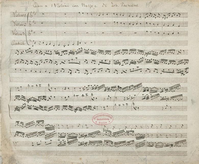 パッヘルベル「カノン」ヴァイオリンとバス楽譜1