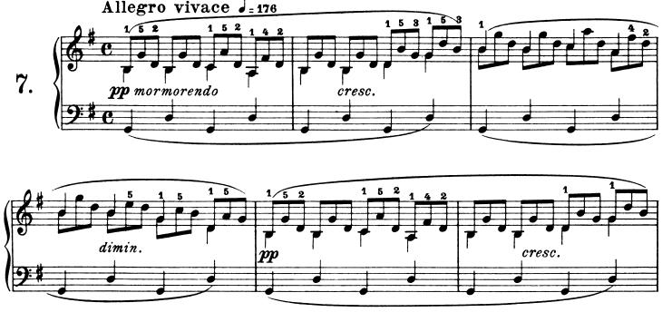 ブルグミュラー「25の練習曲Op.100」第7番「清らかな小川(流れ)」ト長調 ピアノ楽譜1