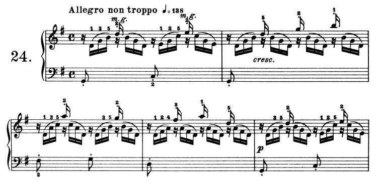 ブルグミュラー25の練習曲第24番「つばめ」ト長調Op.100-24 ピアノ楽譜1