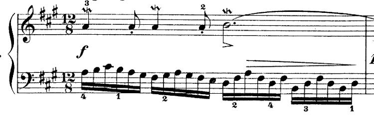 バッハ「インベンション第12番イ長調BWV783」ピアノ楽譜1