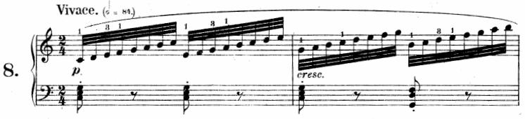 ツェルニー「30番練習曲第8番ハ長調Op.849-8」ピアノ楽譜2