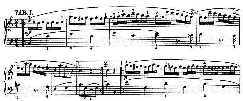モーツァルト「きらきら星変奏曲」ハ長調K.265 ピアノ楽譜2