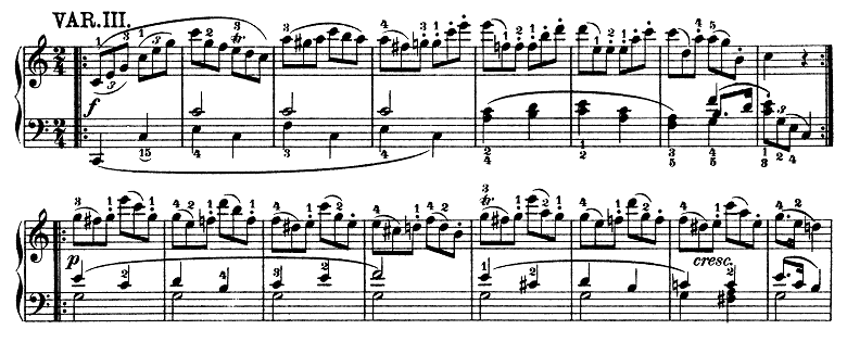 モーツァルト「きらきら星変奏曲」ハ長調K.265 ピアノ楽譜4