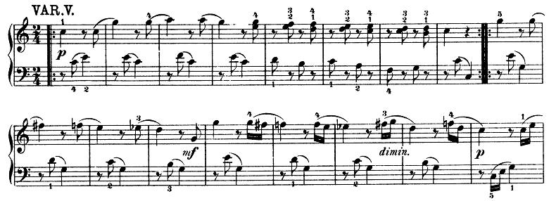 モーツァルト「きらきら星変奏曲」ハ長調K.265 ピアノ楽譜6