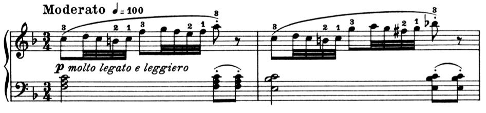 ブルグミュラー「25の練習曲第8番『優しく美しく』ヘ長調Op.100-8」ピアノ楽譜1