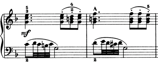 ブルグミュラー「25の練習曲第8番『優しく美しく』ヘ長調Op.100-8」ピアノ楽譜2