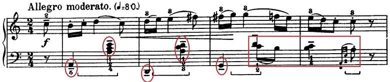 バルトーク「ルーマニア民族舞曲第1曲「棒踊り」イ調」ピアノ楽譜1