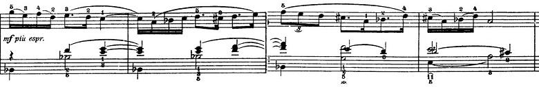 バルトーク「ルーマニア民族舞曲第4曲「角笛の踊り」イ調」ピアノ楽譜2
