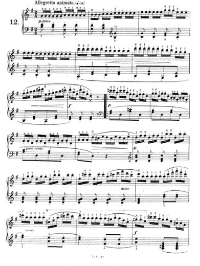 ツェルニー「30番練習曲第12番ト長調Op.849-12」ピアノ楽譜1