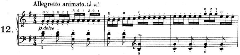 ツェルニー「30番練習曲第12番ト長調Op.849-12」ピアノ楽譜3