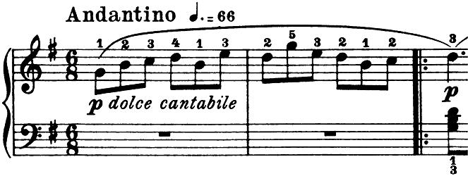 ブルグミュラー「25の練習曲第3番「パストラル(牧歌)」ト長調」ピアノ楽譜1