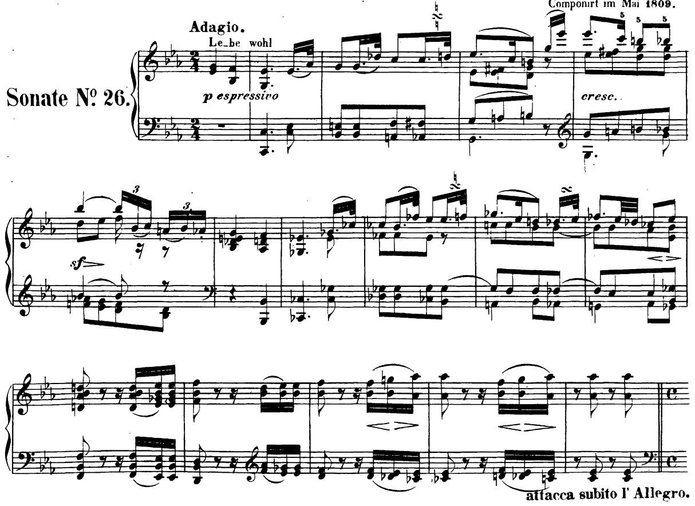 ベートーヴェン「ピアノソナタ第26番「告別」変ホ長調Op.81a第1楽章」楽譜1