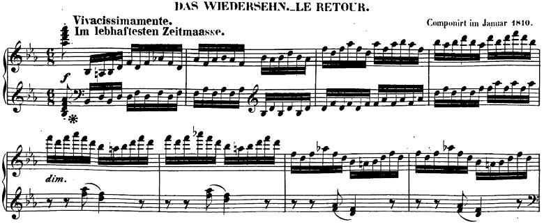 ベートーヴェン「ピアノソナタ第26番「告別」変ホ長調Op.81a第3楽章」楽譜1