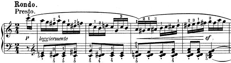 ウェーバー「ピアノソナタ第1番ハ長調Op.24第4楽章「無窮動」」楽譜1