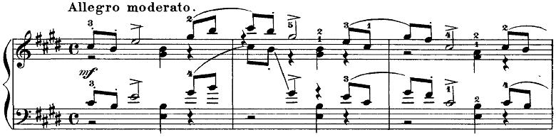 チャイコフスキー「四季11月「トロイカ」ホ長調」ピアノ楽譜1