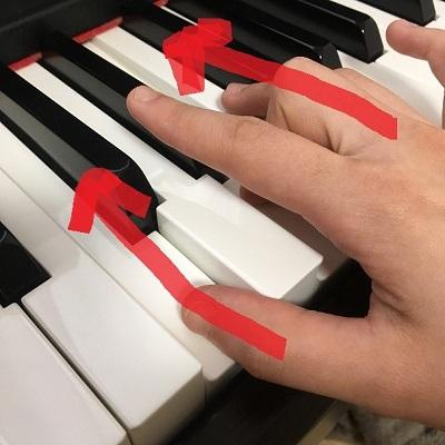 弾く時に少し前に押して、前に力を流すようなイメージで弾くようにすると、指が分離しやすくなり、弾きやすくなります。