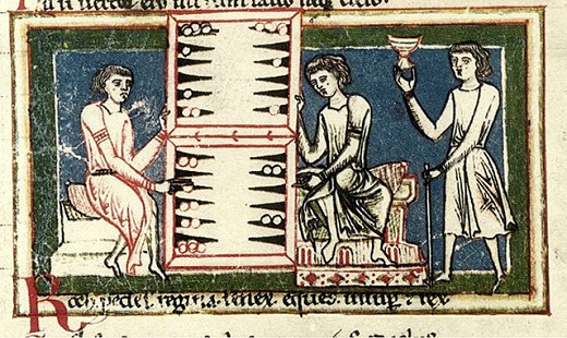 詩歌集「カルミナ・ブラーナ」に描かれている、カードで遊ぶ酔っぱらい達