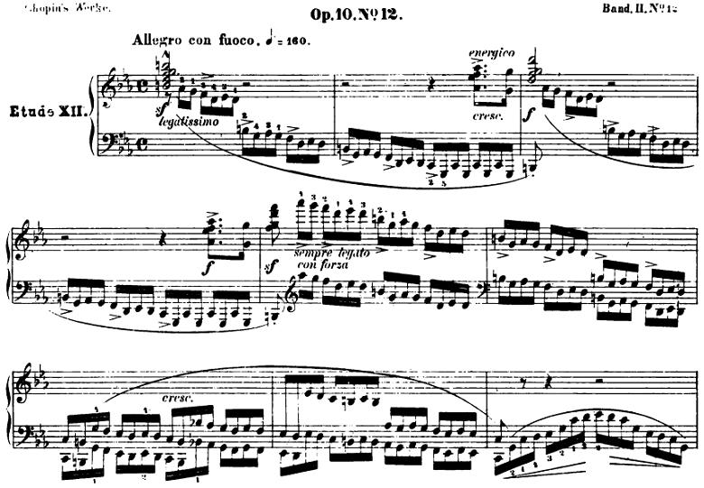 ショパンのエチュードOp.10-12「革命」ピアノ楽譜【ブライトコプフ版】