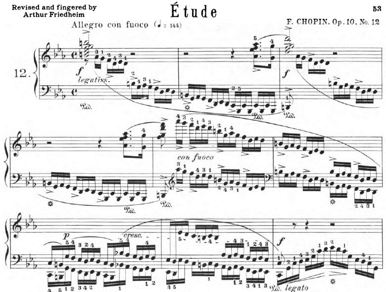 ショパンのエチュードOp.10-12「革命」ピアノ楽譜【シャーマ―版】