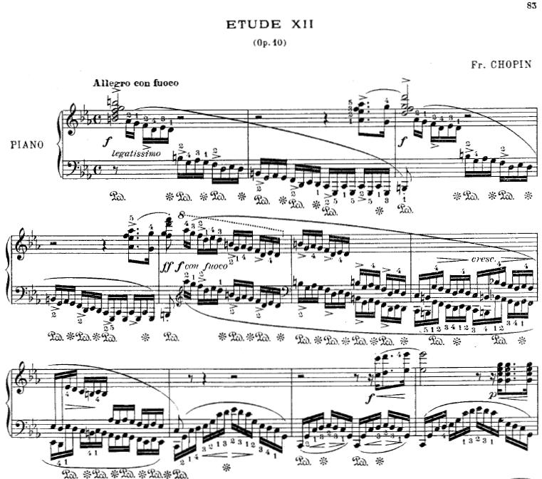 ショパンのエチュードOp.10-12「革命」ピアノ楽譜【コルトー版】