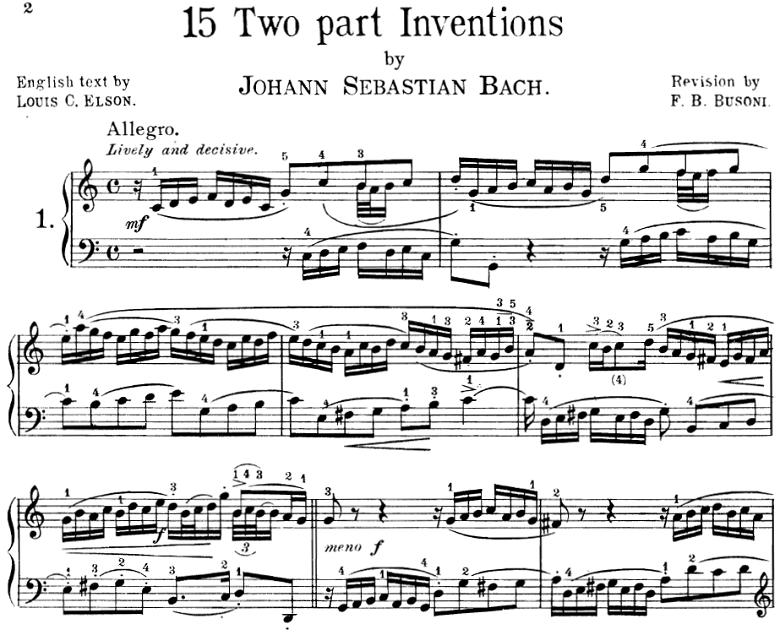 バッハのインヴェンション第1番ピアノ楽譜【ブゾーニ版】