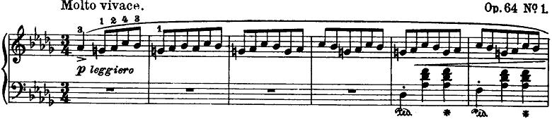 ショパン「ワルツ第6番『子犬のワルツ』変ニ長調Op.64-1」ピアノ楽譜1