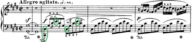 ショパン「即興曲第4番「幻想即興曲」嬰ハ短調Op.66」ピアノ楽譜1