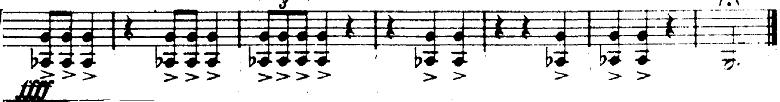 ホルスト『惑星』より「火星」最後の不協和音の楽譜