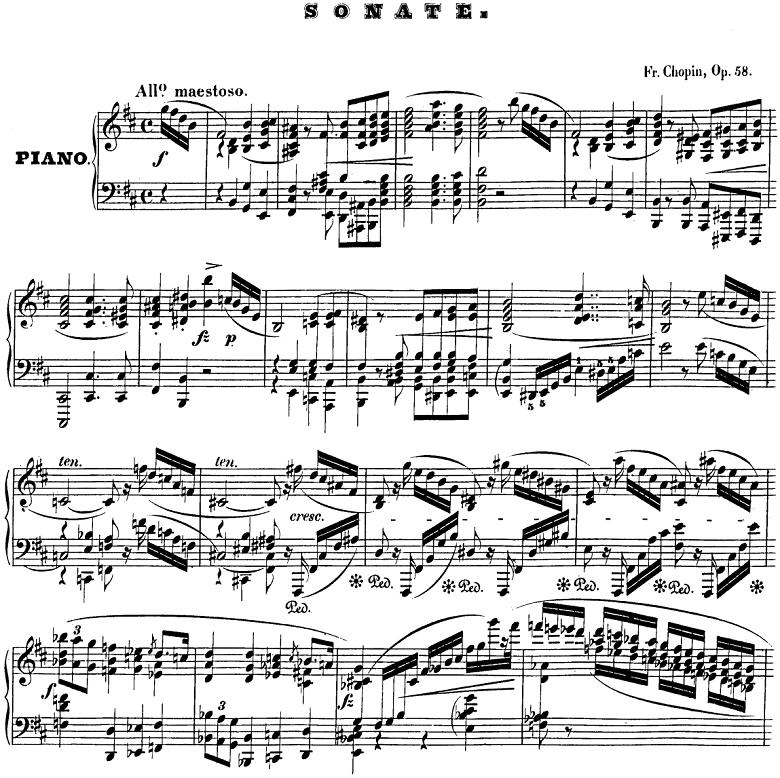 ショパン「ピアノ・ソナタ第3番Op.58ロ短調」楽譜
