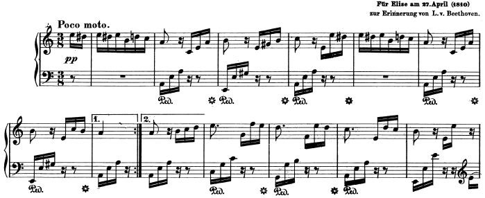 ベートーヴェン「エリーゼのために」ピアノ楽譜1
