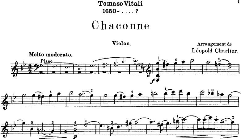 「ヴィターリのシャコンヌ」ヴァイオリン楽譜1